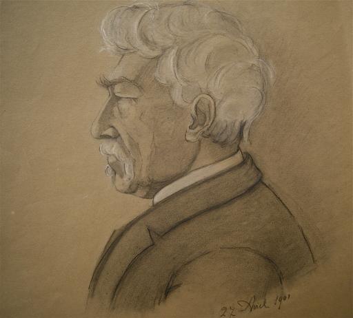 Berthe LASSIEUR - Dessin-Aquarelle - Portrait d' homme de profil.