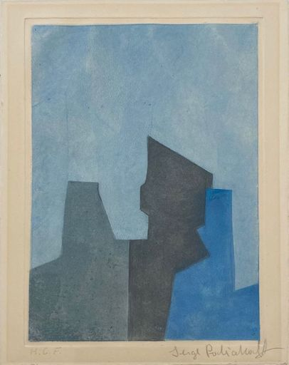 Serge POLIAKOFF - Stampa Multiplo - Composition Bleue XXIV