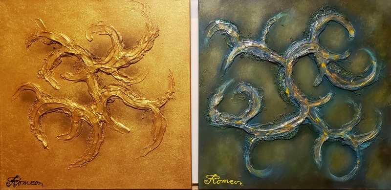 Romeo DOBROTA - Painting - Gold and silver