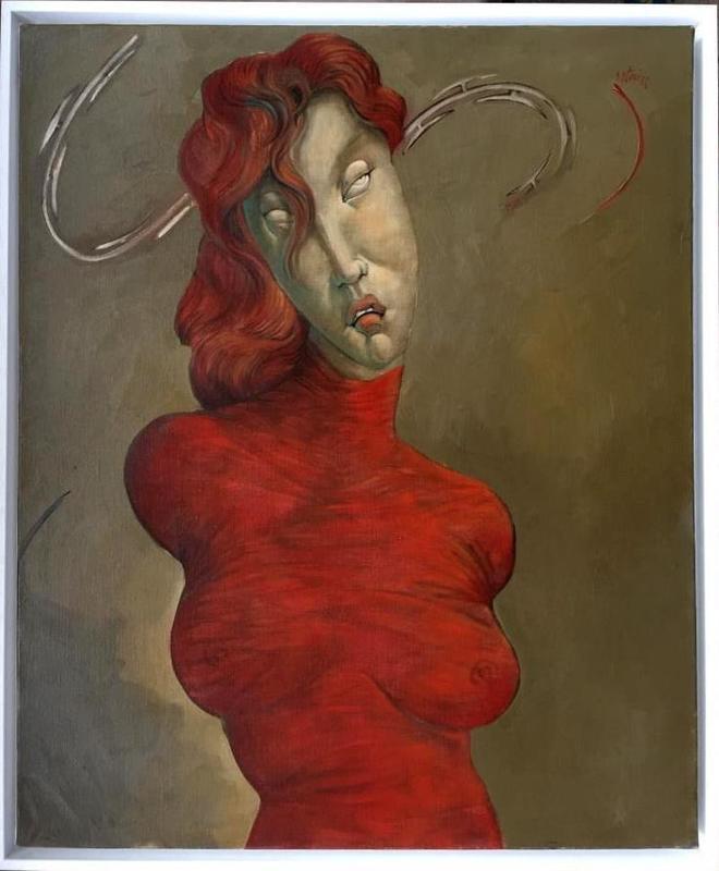 Jean-Pierre CEYTAIRE - Pintura - « Femme en rouge et barbelés »