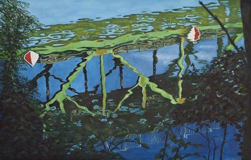 Regine FREISE - Pintura - « Le pont du train »