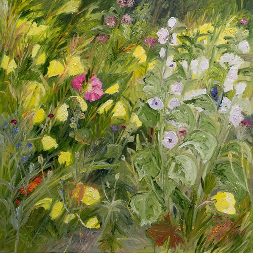 Ute MEYER - Painting - evening primroses and mallows