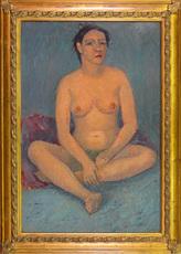 Hubertus Johannes MENGELS - Peinture - Seated Female Nude