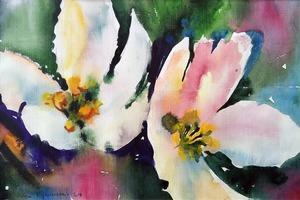 "Galina VINDALOVSKAIA - Dessin-Aquarelle - ""White Flowers"" original watercolor painting"