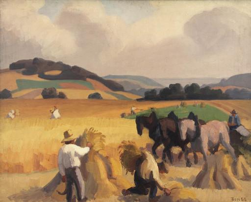 Jules Émile ZINGG - Painting - Scène de moisson à Boury