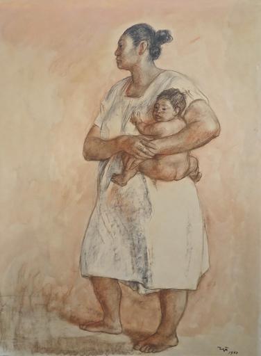 Francisco ZUÑIGA - Dibujo Acuarela - Madre y nino