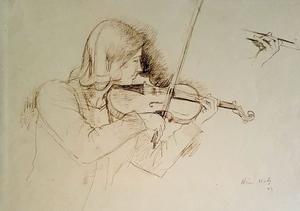 Adrien HOLY - Dessin-Aquarelle - LA VIOLONISTE