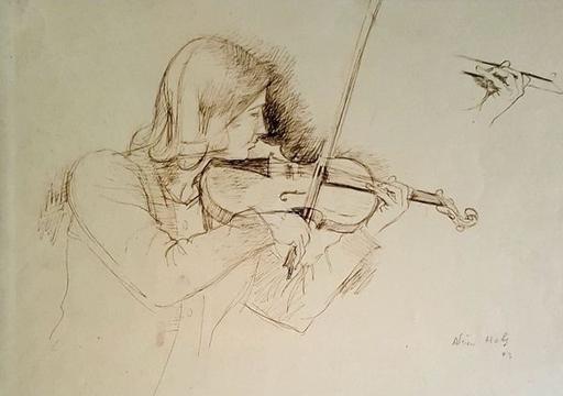 Adrien HOLY - Dibujo Acuarela - LA VIOLONISTE
