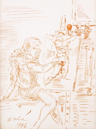Salvador DALI - Drawing-Watercolor - Artist At His Easel
