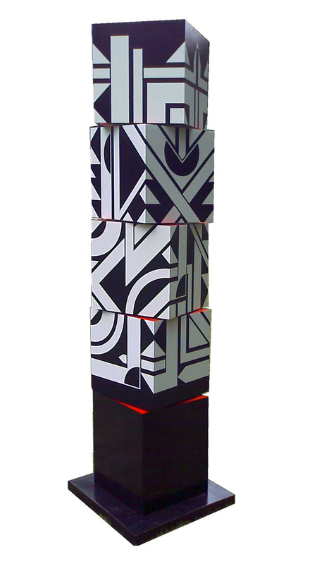 Michel BISBARD - Sculpture-Volume - Totem rotatif blanc et rouge