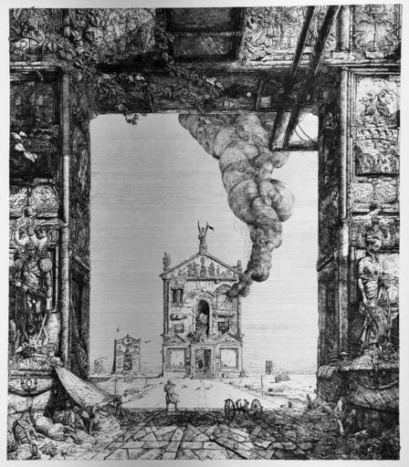 Philippe MOHLITZ - Stampa Multiplo - Le temple incendié