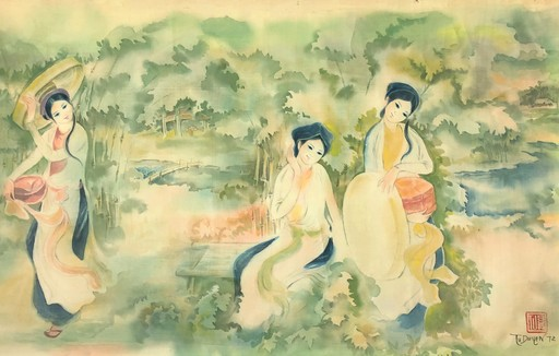 Tu DUYEN - Dibujo Acuarela - Three Country Girls