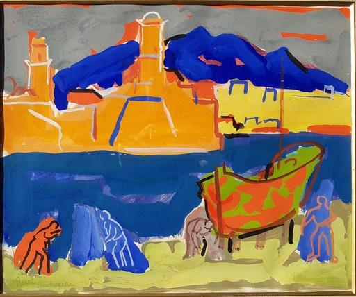 Pierre AMBROGIANI - Dibujo Acuarela - Marseille l'entrée du Port