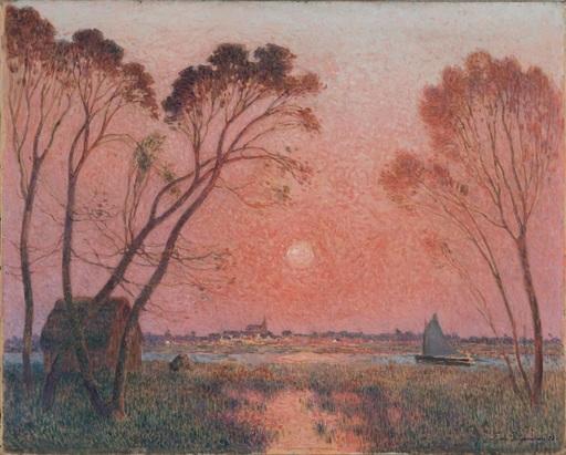 Ferdinand Loyen DU PUIGAUDEAU - Pintura - Barque sur la Brière au crépuscule