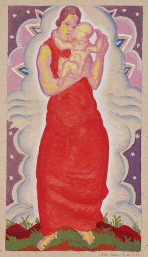 Josef LACINA - Dibujo Acuarela - Art Deco Madonna, 1926, watercolor
