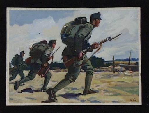 """Ernst LIEBENAUER - Pittura - """"Attack in World War I"""" by Ernst Liebenauer, ca 1915"""