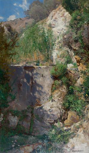 Eugen BRACHT - Painting - Schlucht Sonnige in Palästina, 1891.
