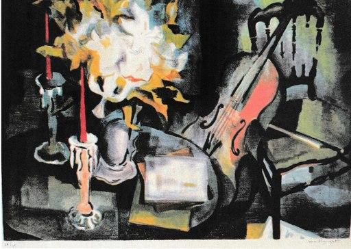 Gérard LANGLET - Druckgrafik-Multiple - Nature morte au violoncelle