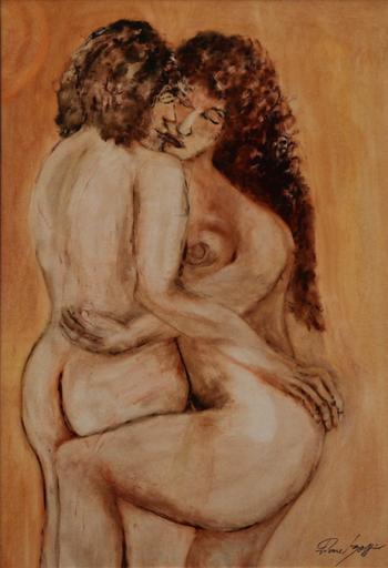 Pierre BOFFIN - Gemälde - Zwei Liebende