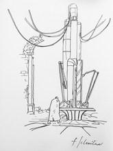 François SCHUITEN - Drawing-Watercolor - « La terre creuse »