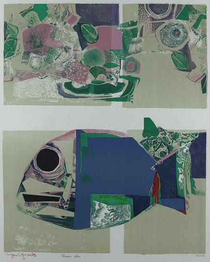 Roger BEZOMBES - Druckgrafik-Multiple - Poisson Bleu