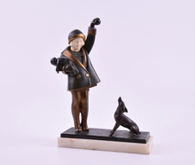 André Vincent BECQUEREL - Escultura - Girl playing with dog
