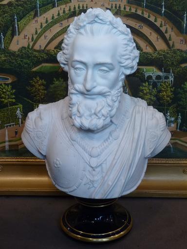 J.Ch. Nicolas I BRACHARD - 陶瓷  - Le Roi Henri IV, Biscuit de Sèvres, Epoque Restauration