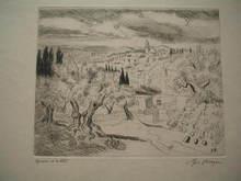 Yves BRAYER - Estampe-Multiple - Paysage de Jérusalem,1967.