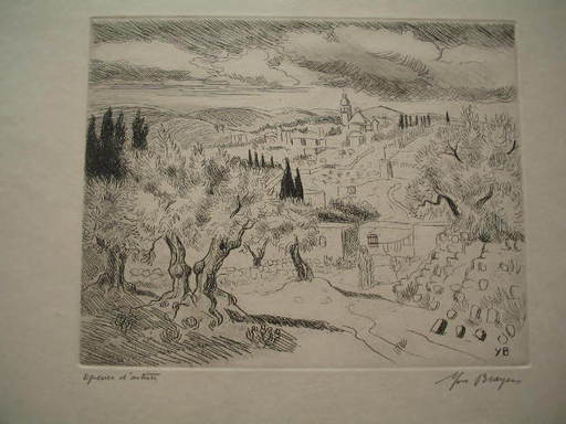 Yves BRAYER - Grabado - Paysage de Jérusalem,1967.