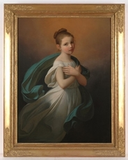 """Karl Josef Aloys AGRICOLA - Painting - """"Romantical Portrait of a young Girl"""", 1st half of 19th C."""