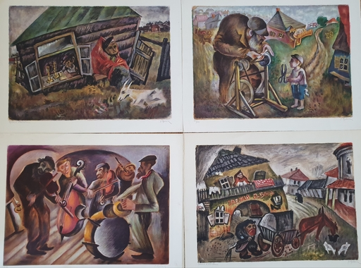 Issachar Ber RYBACK - Print-Multiple - My Village-4 Lithographs