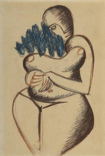 LE CORBUSIER - Dessin-Aquarelle - Femme nue aux cheveux bleus