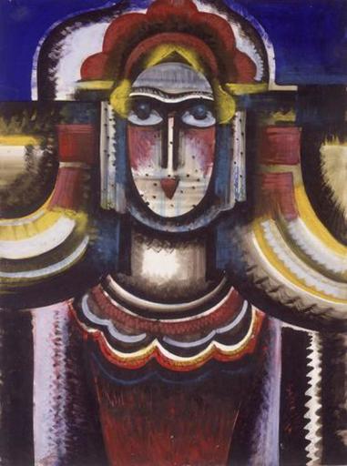 Hugo SCHEIBER - Drawing-Watercolor - Futurist Woman