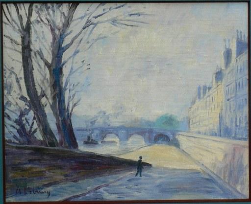 Albert Marie LEBOURG - Peinture - « Paris - Remorqueur sur la Seine  »