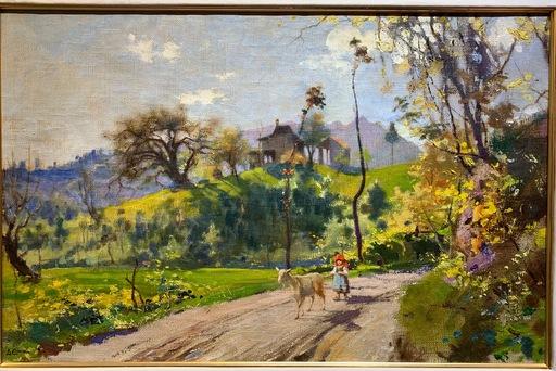 Luigi CIMA - Pittura - Paesaggio con pastorella e capretta