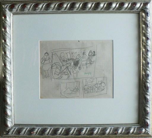 Jean POUGNY - Dibujo Acuarela - «Au jardin du Luxembourg » & « Personnage lisant » c.1953
