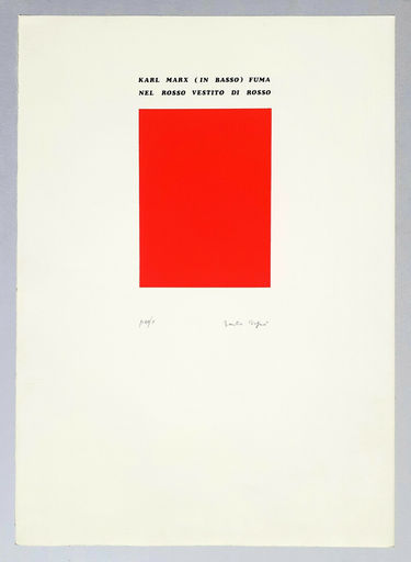 Emilio ISGRO - Stampa-Multiplo - Karl Marx (in basso) fuma nel rosso vestito di rosso