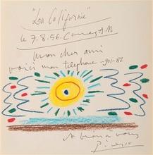 Pablo PICASSO - Dessin-Aquarelle - Soleil de Méditerrannée
