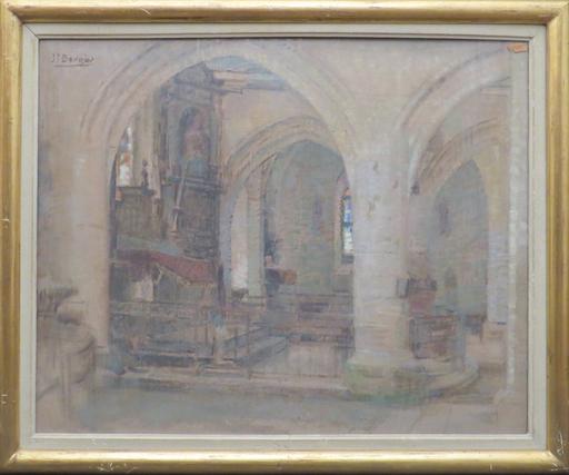Joseph Paul Louis BERGES - Peinture - intérieur de chapelle