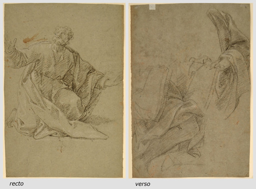 Giacomo ZOBOLI - Dibujo Acuarela - STUDY OF AN APOSTLE(recto) TWO STUDIES FOR AN APOSTLE(verso)
