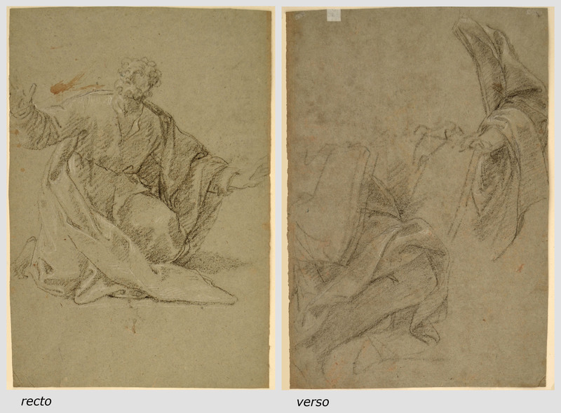 Giacomo ZOBOLI - Drawing-Watercolor - STUDY OF AN APOSTLE(recto) TWO STUDIES FOR AN APOSTLE(verso)