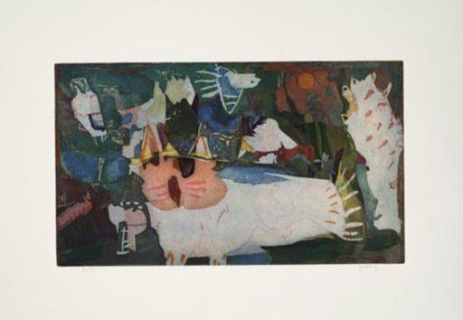 Yoshi TAKAHASHI - Estampe-Multiple - Katze und Vogel