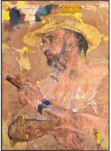 Jean LE GAC - Dibujo Acuarela - Le peintre