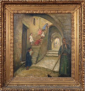 Joseph TEPPER - Painting - Children in the Old City of Jerusalem
