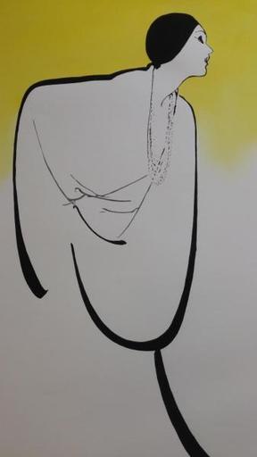René GRUAU - Print-Multiple - Profil femme  fond  jaune