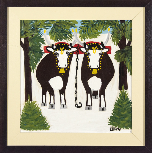 Maud LEWIS - Pittura - Two Oxen in Winter with Three Legs