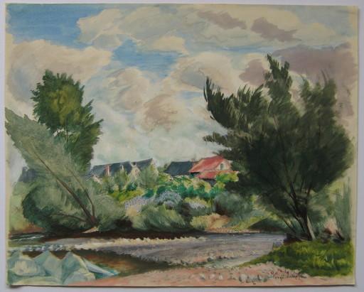 Henri VERGÉ-SARRAT - Disegno Acquarello - DESSIN SIGNÉ À LA MAIN HANDSIGNED DRAWING ART MODERNE BELGE