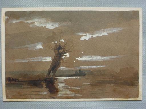 阿道夫•冯•门采尔 - 水彩作品 - Evening Landscape