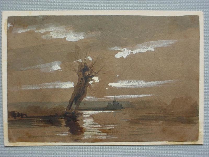 Adolph VON MENZEL - Zeichnung Aquarell - Evening Landscape