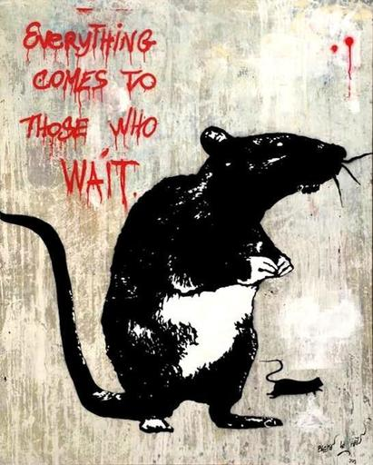 BLEK LE RAT - Painting - EVERYTHING COMES TO THOSE WHO WAIT